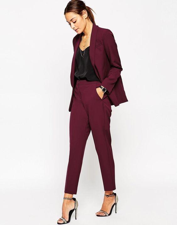 брюки женские 2018-2019 года: скинни бордовые