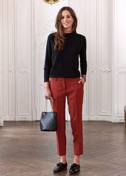 брюки женские 2019 года: красивые скинни красные