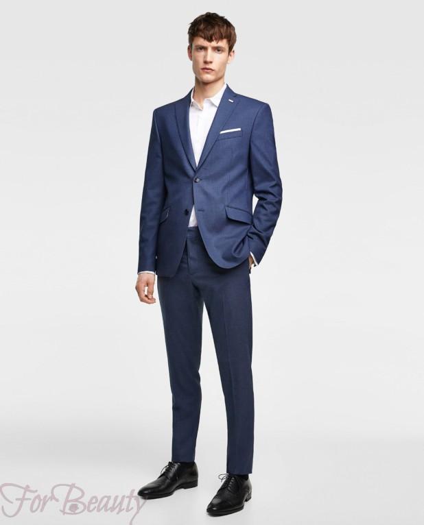 Классический синий костюм на выпускной для парня 2018