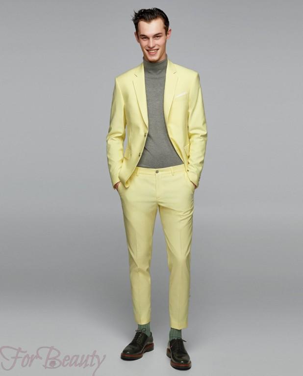 Классический лимонный костюм на выпускной для парня 2018