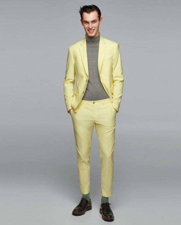 Классический лимонный костюм на выпускной для парня 2018-2019