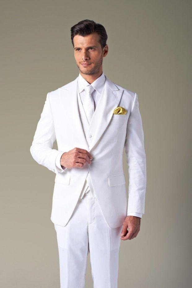 Белый костюм на выпускной для парня 2018-2019