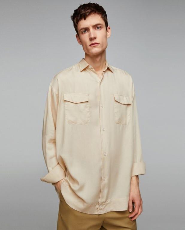 бежевая рубашка на выпускной для парня в 2018-2019 году