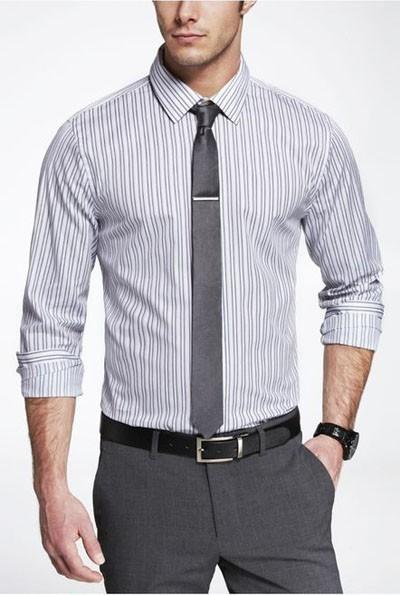 мужские рубашки 2018 мода: полоска двойная