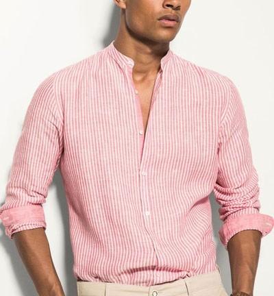 мужские рубашки 2018 мода: в полоску розовая