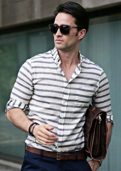 мужские рубашки: в полоску серую
