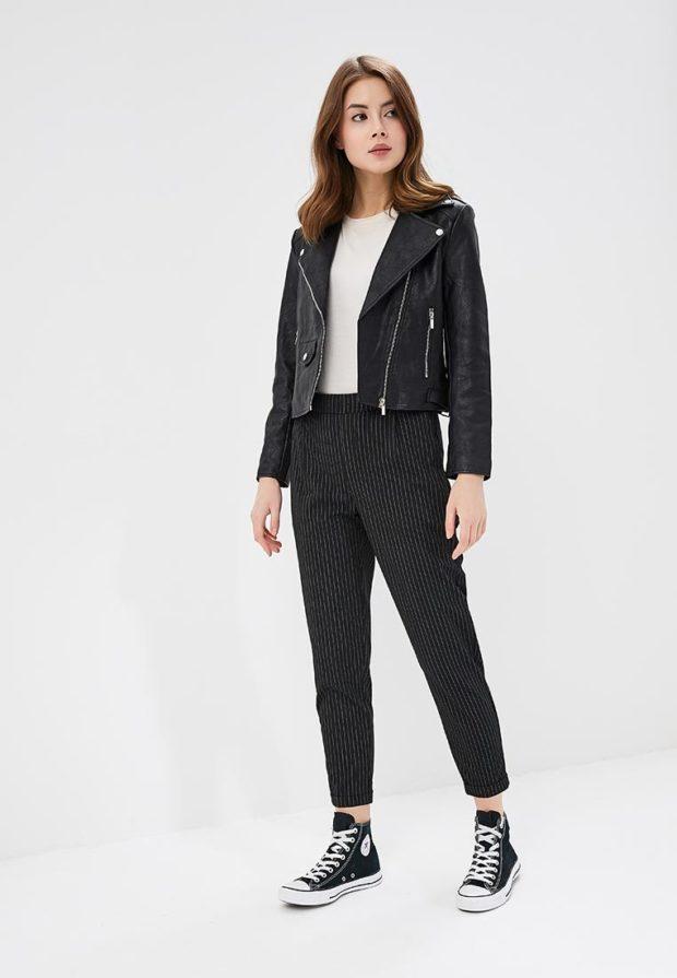 стильные образы на каждый день для девушек: с черными брюками фото 2018-2019
