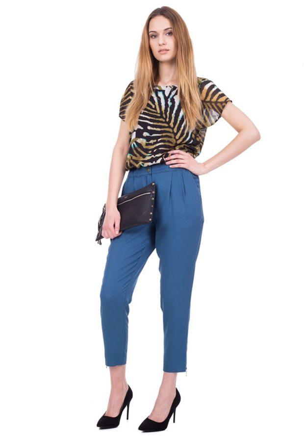 стильные образы на каждый день для девушек: с синими брюками 2018-2019
