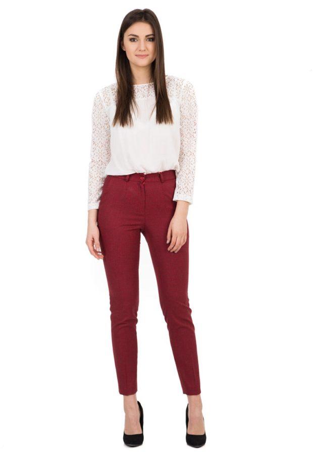 стильные образы на каждый день для девушек: с бордовыми брюками 2018-2019