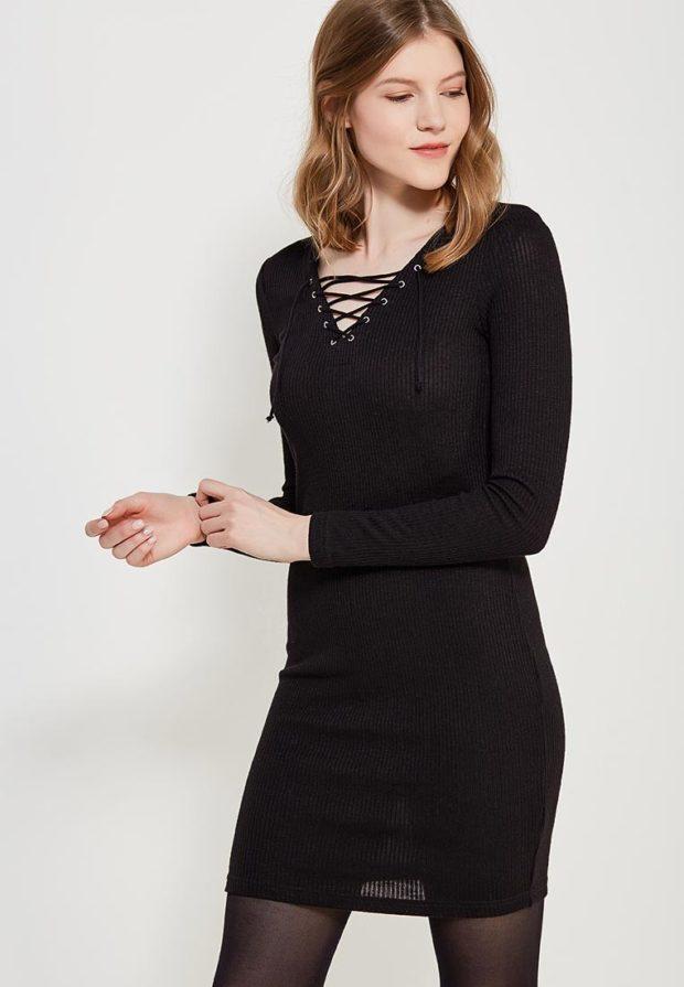 стильные образы на каждый день 2018-2019: с черным платьем