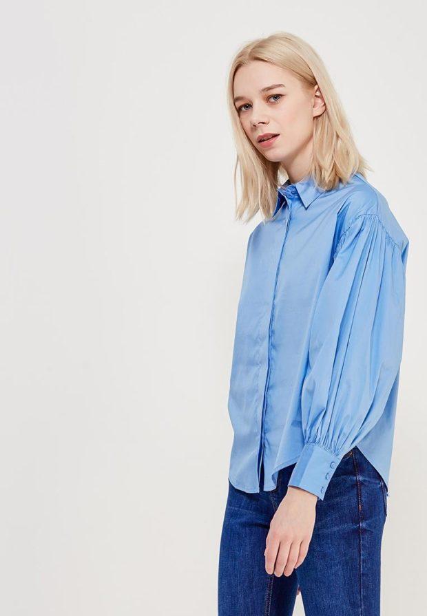 стильные образы на каждый день 2018-2019: с голубой блузкой