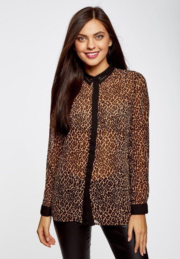 стильные образы на каждый день 2018-2019: с тигровой блузкой