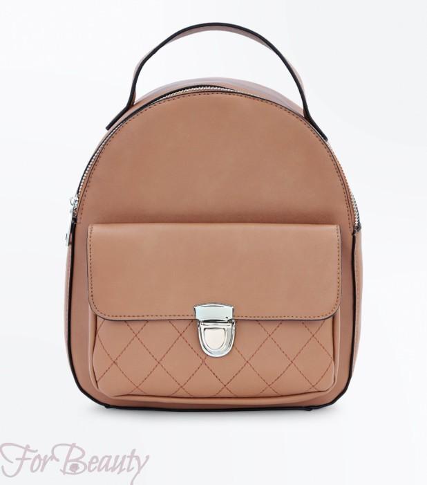 Модный коричневый кожаный рюкзак 2018