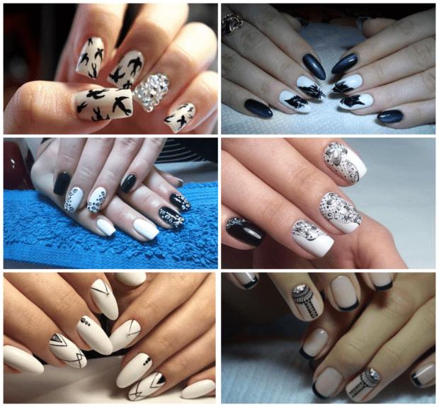 Белый с черным маникюр модные тенденции