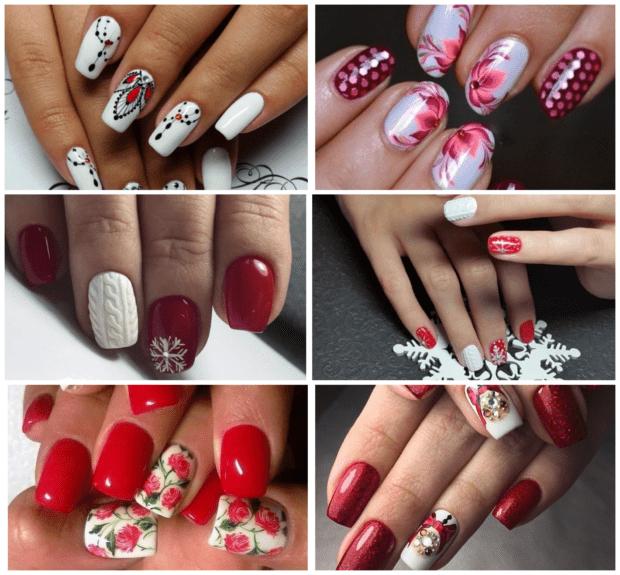 Белый с красным маникюр модные тенденции