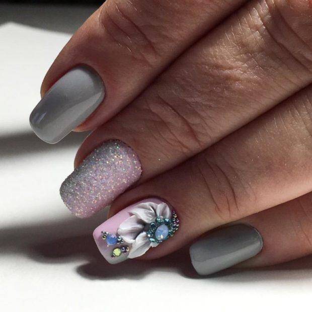 флористические узоры и рисунки на ногтях модные тенденции фото шеллак