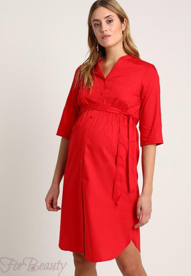 Легкое красное платье для беременных 2018 фото