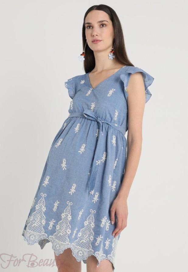 Легкое голубое платье для беременных 2018 фото