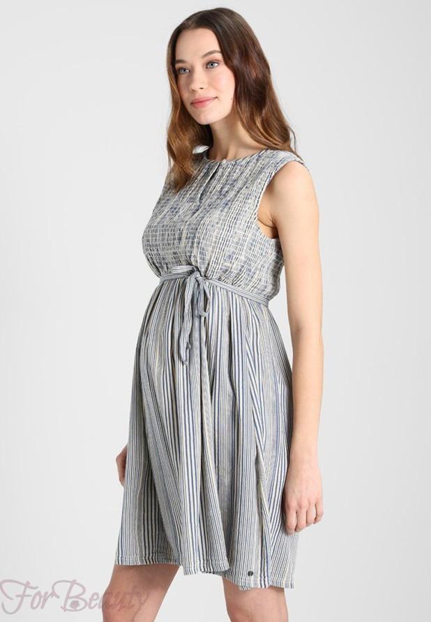 Легкое полосатое платье для беременных 2018 фото