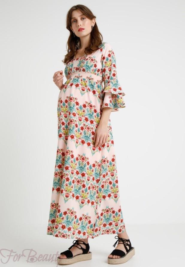 Легкое принтованное платье для беременных 2018 фото