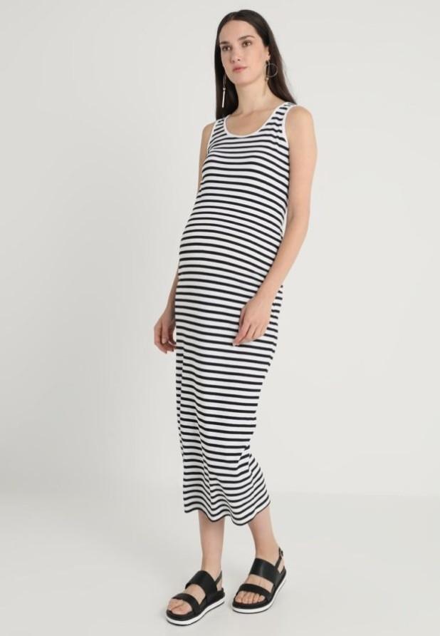мода для беременных: Легкое полосатое платье