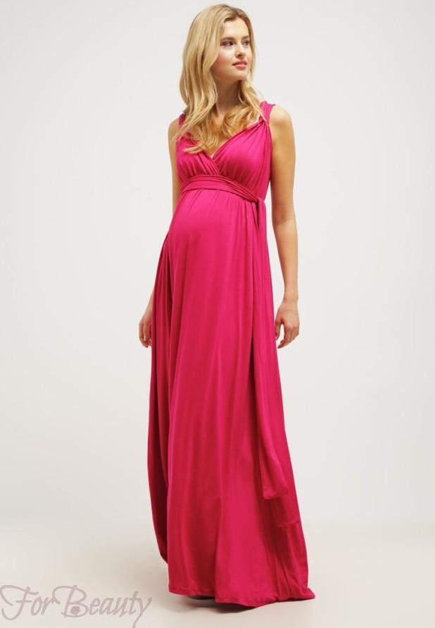 Розовое вечерние платья для беременных 2018
