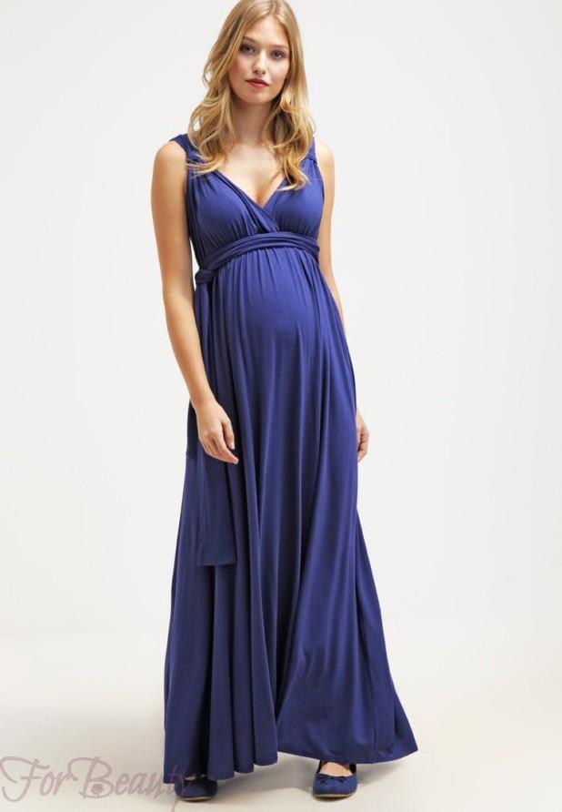 синее вечерние платья для беременных 2018