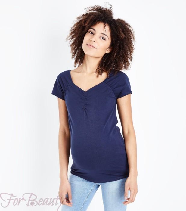 Модная футболка с V-образным вырезом для беременных 2018