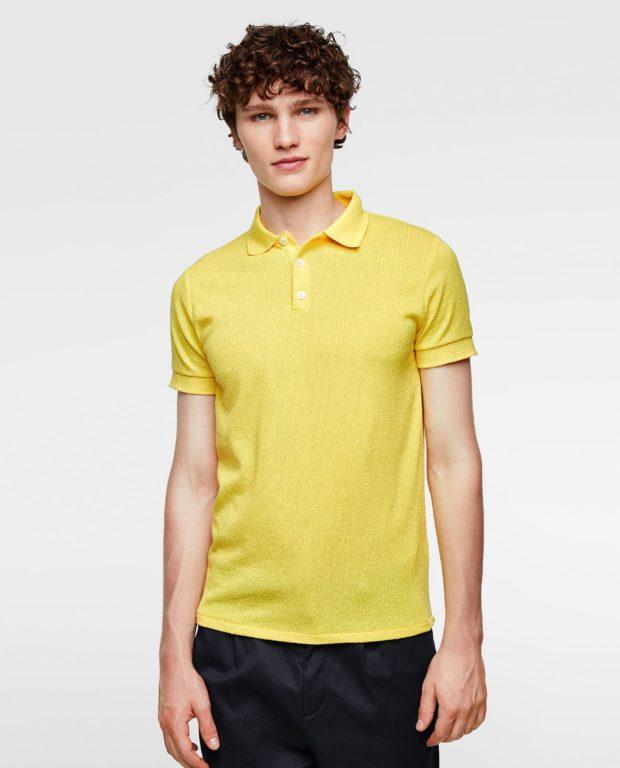 желтая рубашка-поло для подростка 2018-2019