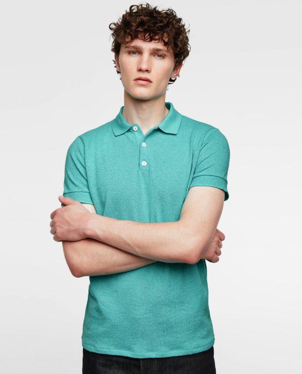 бирюзовая рубашка-поло для подростка 2018-2019