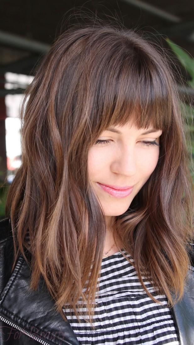 Модная челка 2018 на длинные волосы