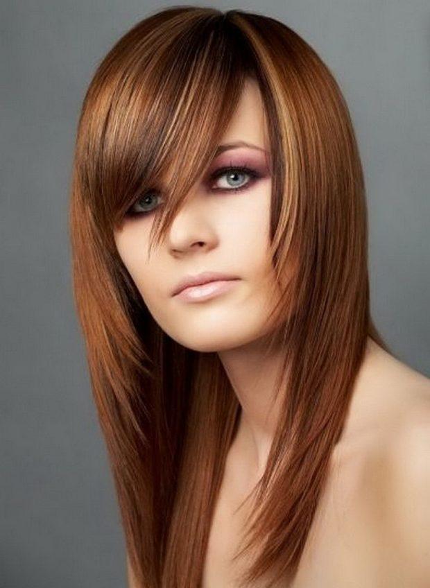 Модная геометрическая челка на длинные волосы