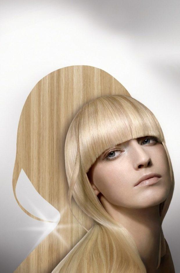 Модная челка дуга на длинные волосы