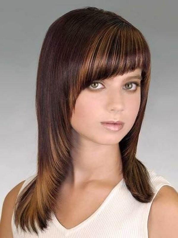 Модная челка дуга 2018 на длинные волосы