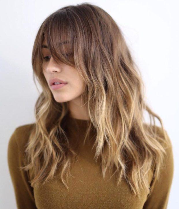 Модные челки 2018-2019 на длинные волосы
