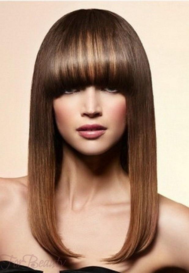 Модная густая челка 2018 на длинные волосы