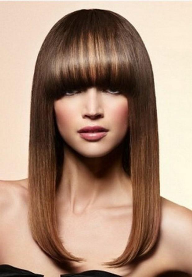 Модные челки: густая на длинные волосы