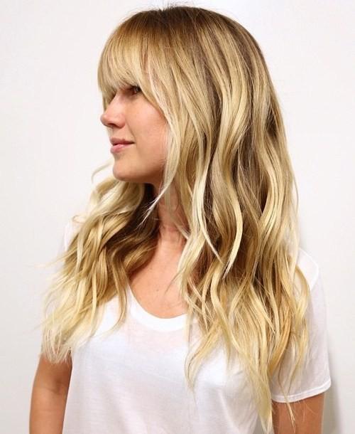 Модные челки: густая на длинные волосы фото