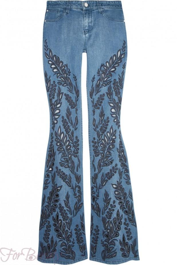 женские джинсы клёш с принтом фото