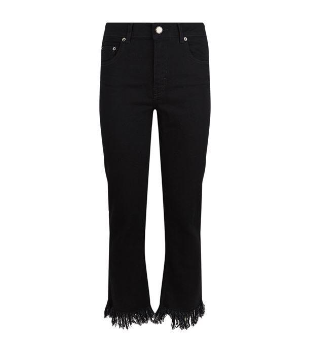 джинсы с бахромой черные