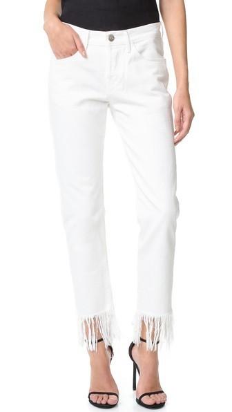 стильные джинсы с бахромой белые
