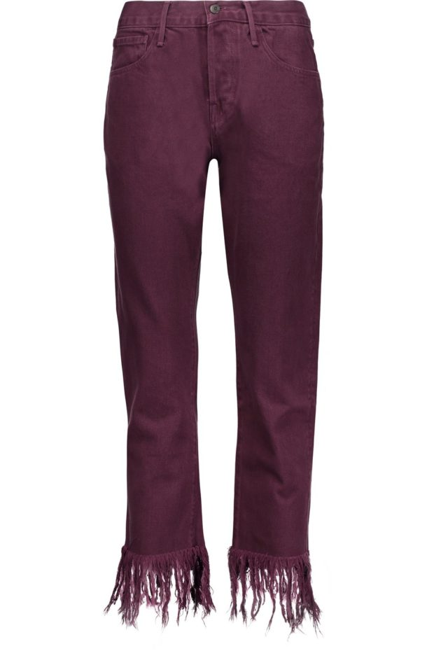 красивые джинсы с бахромой бордовые