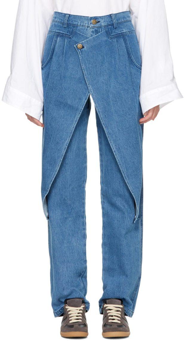 модные джинсы многослойный деним юбка поверх брюк