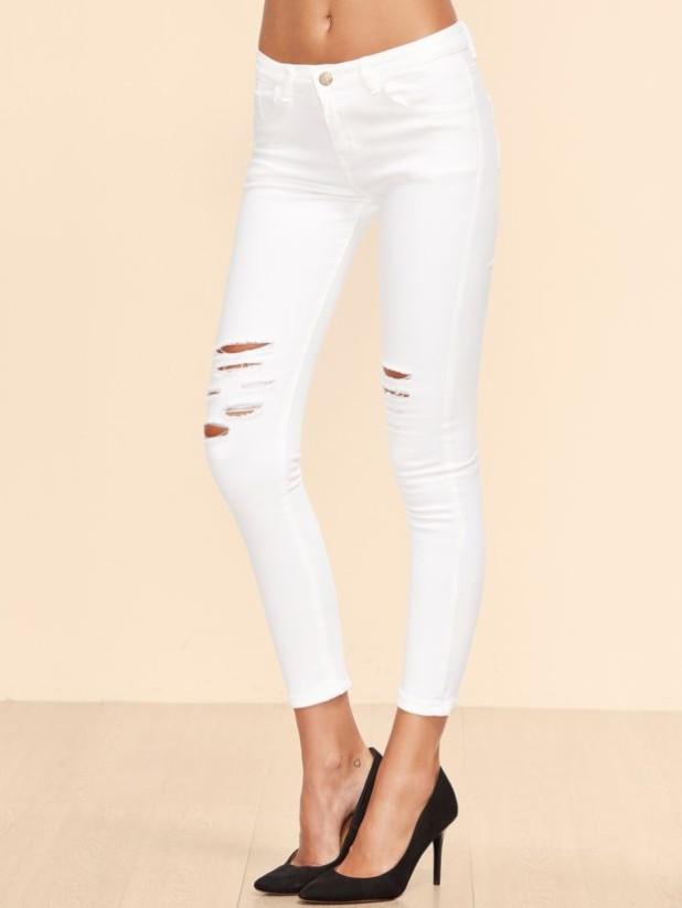 Женские джинсы белые рваные