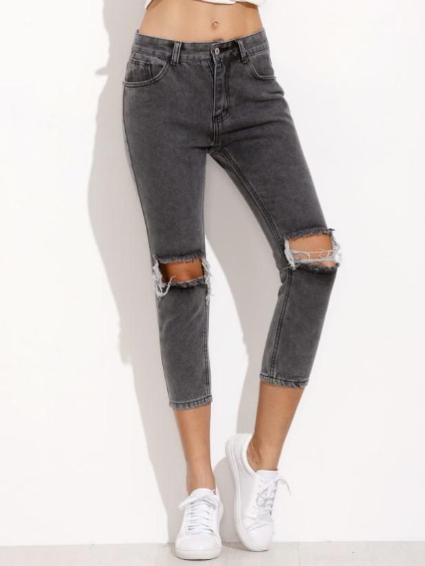 Женские джинсы серые рваные