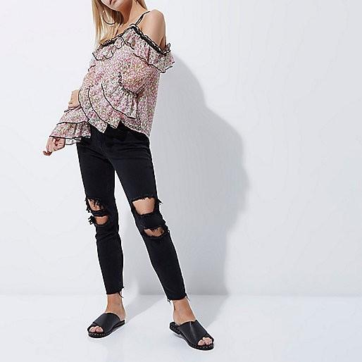 Женские джинсы 2019-2020: черные рваные