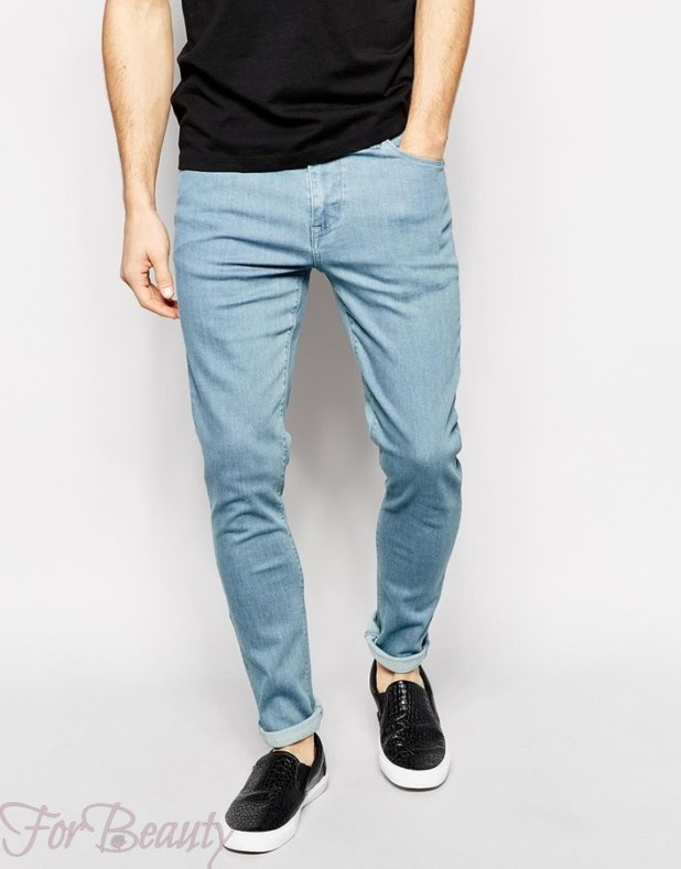 Мужские узкие штаны с подворотом 2018