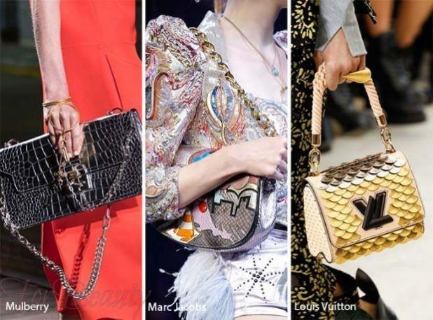 Модные сумки: Кожаная сумка оттенка металлик