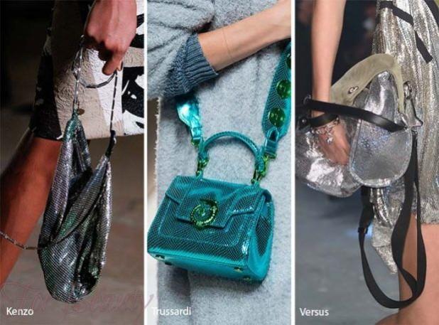 модная кожаная сумка оттенка металлик