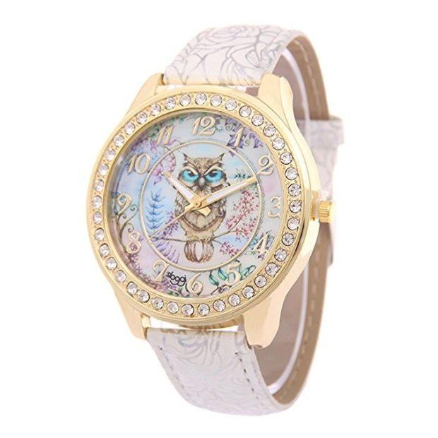 женские стильные часы циферблат в виде совы